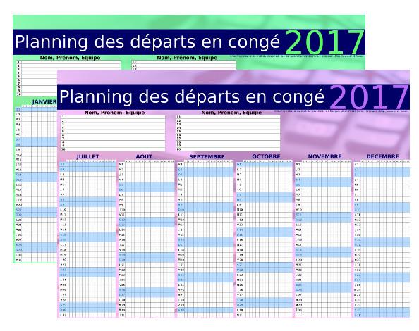 Planning des départs en congés 2018