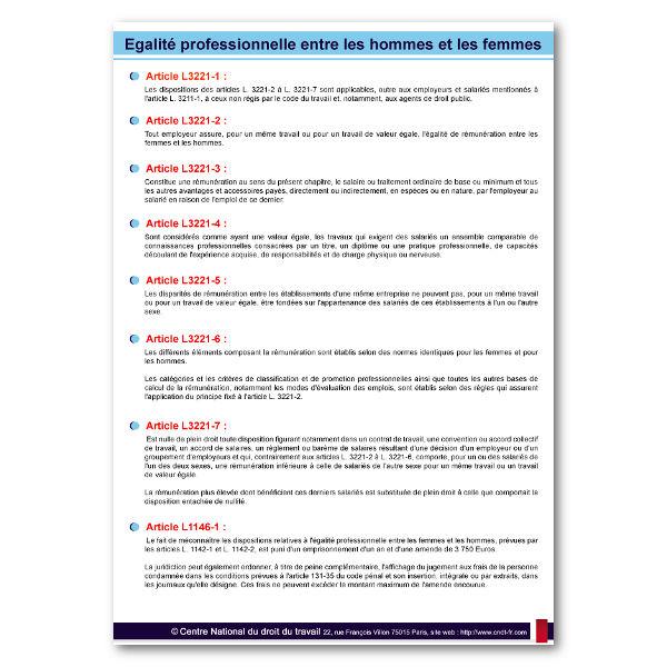 Egalité professionnelle et salariale entre hommes et femmes - Affichages Obligatoires