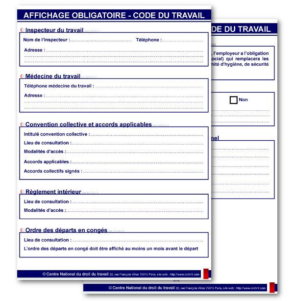Affichage Obligatoire 2019 des Informations du Code du travail