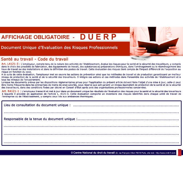 Modalités d'accès au document unique d'évaluation des risques professionnels - DUERP