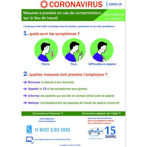 Affichage coronavirus : mesures à prendre par l'employeur en cas de contamination (covid-19) - format A3