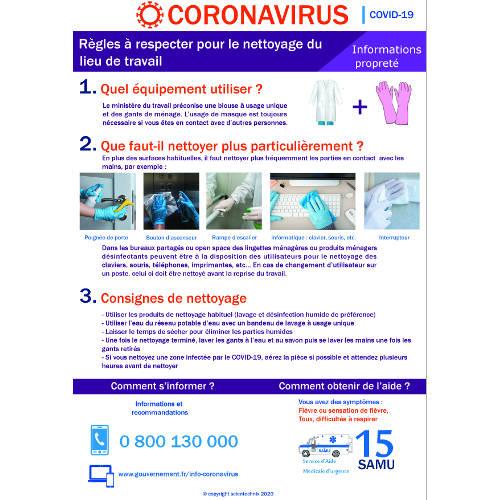 Affichage coronavirus : règles à respecter pour nettoyer le lieu de travail (covid19) format A3