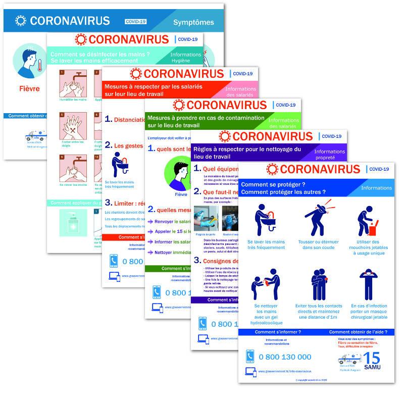 Pack affichages coronavirus : Tout inclus - 6 affichages prévention protection (covid19)   format A3