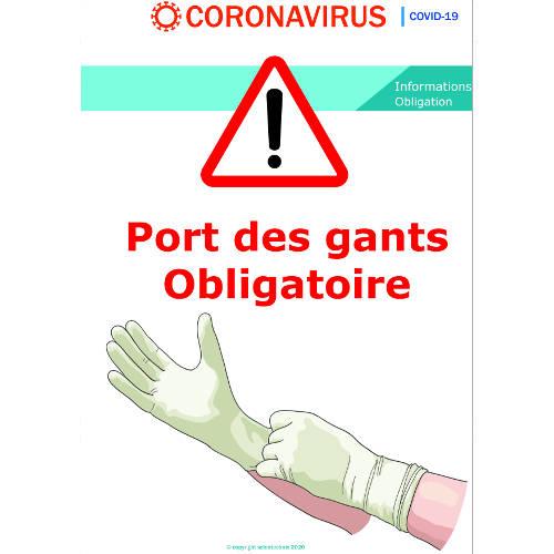 Port des gants obligatoires - signalétique - Format A3