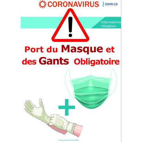 Port des gants et du masque obligatoire - signalétique  Format A3