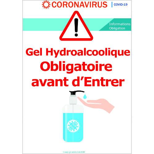 Gel Hydroalcoolique obligatoire avant d'entrer - Signalétique Format A3