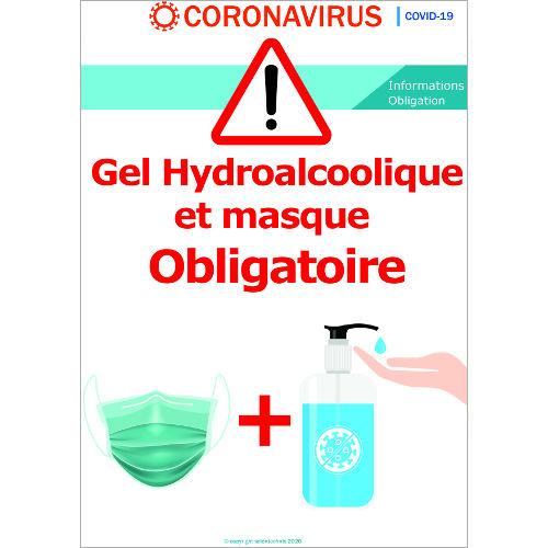 Gel Hydroalcoolique et masque obligatoire avant d'entrer - Signalétique  Format A3