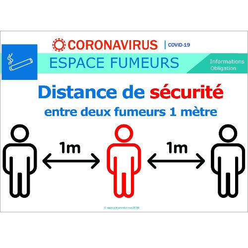 Distance de sécurité de 1m entre deux personnes dans l'espace fumeur- signalétique  Format A3