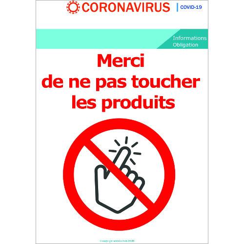 Ne pas toucher les produits - Signalétique  Format A3