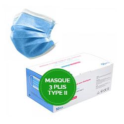 50 masques chirurgicaux 3 plis de Type II conformes EN14683:2019