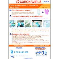 Affichage coronavirus : règles à respecter pour nettoyer le lieu de travail (covid19) Nouveau Protocole Novembre 2020